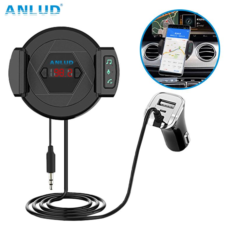 ANLUD Multi Functions Bluetooth 4.1 FM Transmitter and Car Charger Handsfree MP3 Music Audio Player with Car Mobilephone Holder