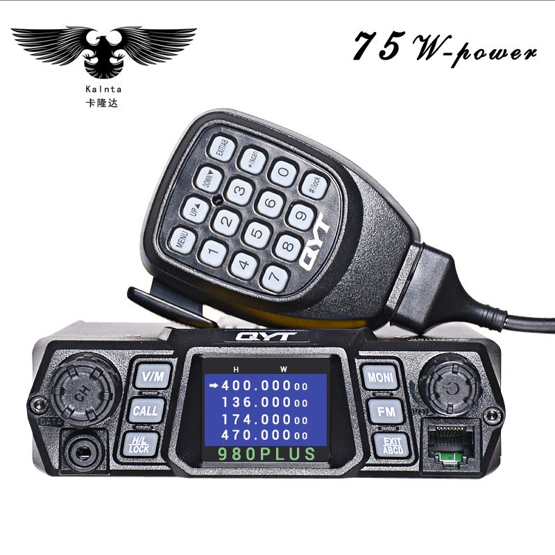 Brand New QYT KT-980Plus Dual Band Quad Display Walkie Talkie For Car Two Way Radio Station With Display Screen Free Shipping