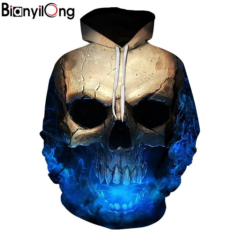 Skull headr Men Hoodies Sweatshirts 3D Printed Funny Hip HOP Hoodies Novelty Streetwear Hooded Autumn Jackets Mlae Tracksuits