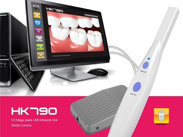 DHL livraison gratuite 2019 nouveau 5.0 méga Pixels USB 6-LED caméra intra-orale dentaire avec logiciel sans pédale HK790
