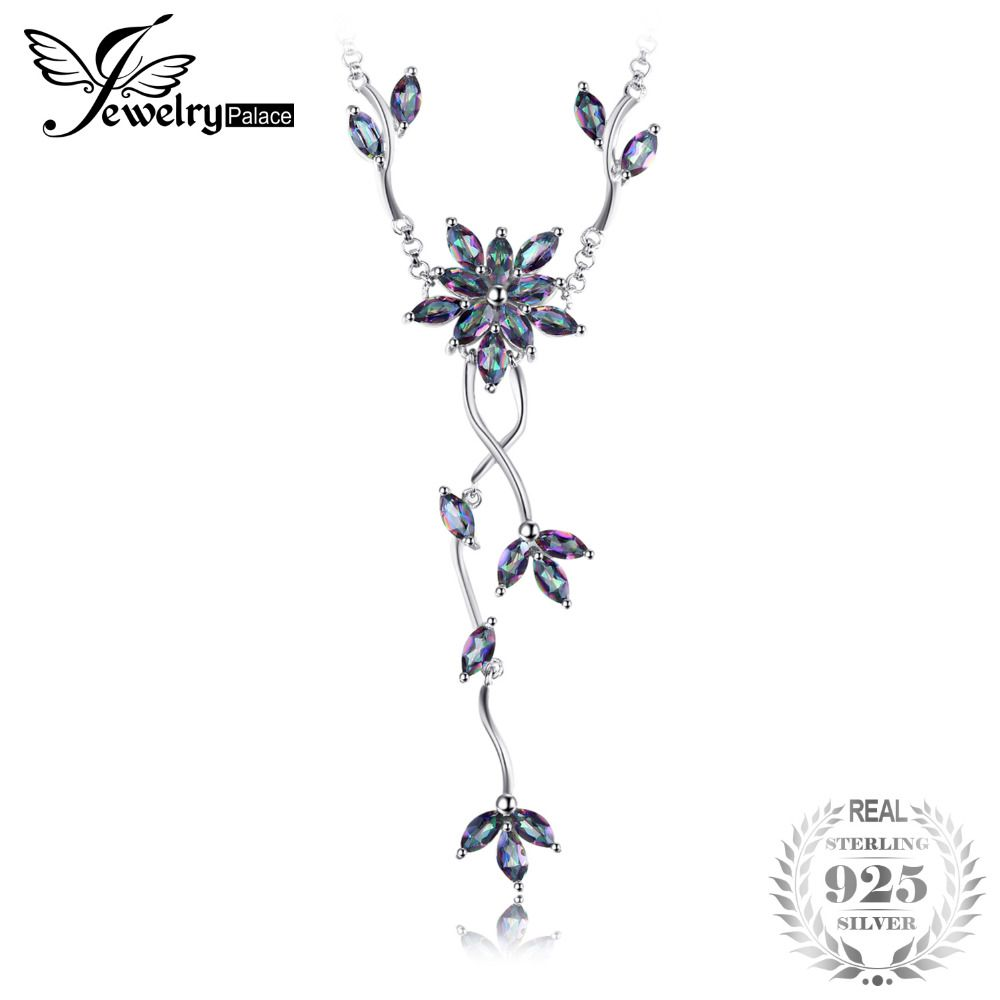 5.2ct Genuine Mystic Rainbow Topaz Collar Necklace Pure Solid Real 925 Sterling Silver Fashion Fine Jewelry Gift For Women