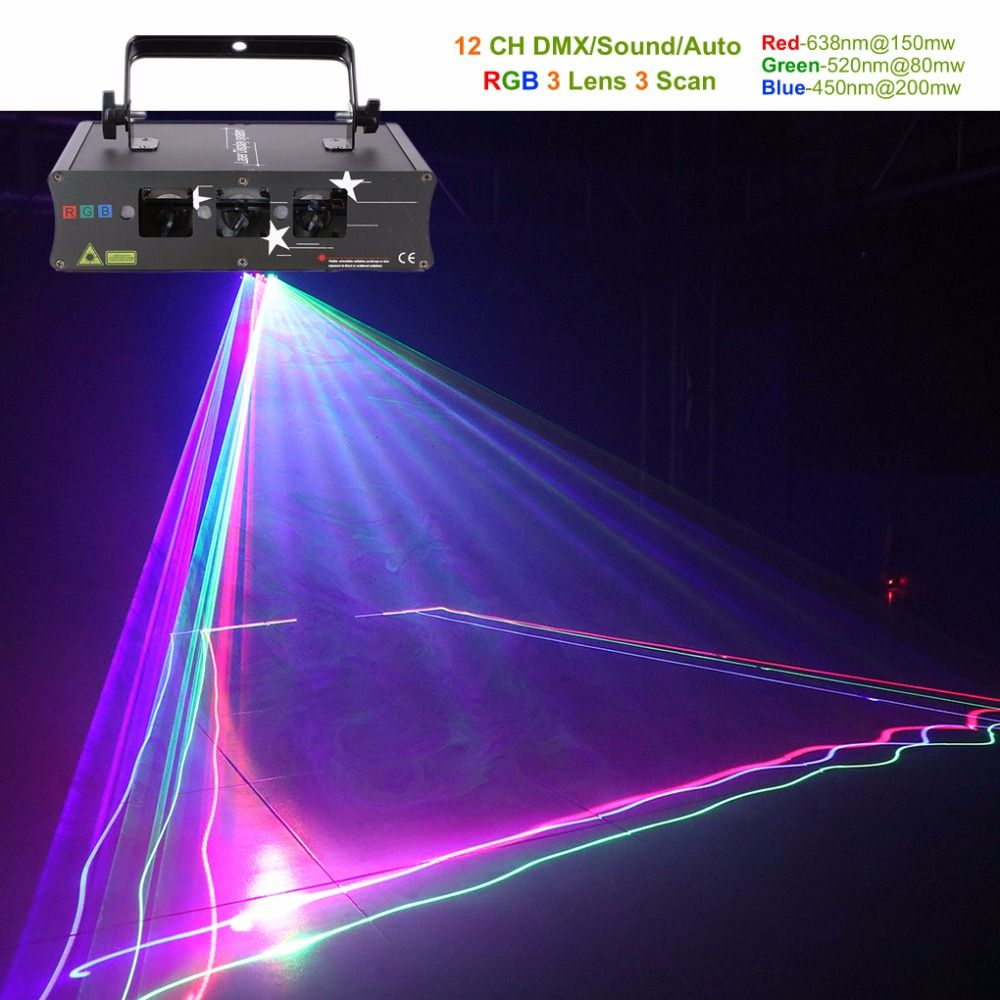 AUCD 3 Lens RGB Laser Scan Beam Line Lights DMX Sound AUTO Projector Lamp DJ Party Show Home Professional Stage Lighting H-Q6