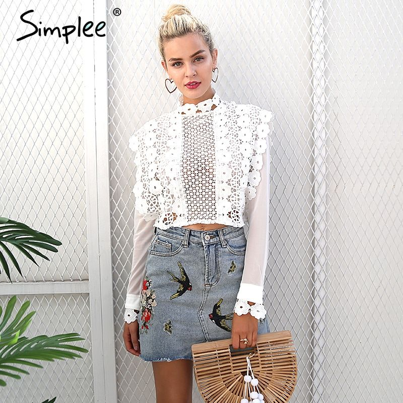 Simplee Sexy white lace flower blouse shirt <font><b>Hollow</b></font> out mesh transparent blouse blusas Women long sleeve blouse tops christmas