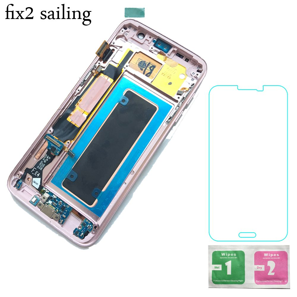 LCD Display Touch Screen Digitizer Assembly Replacement Parts+Bezel Frame For Samsung Galaxy S7 Edge SM-G935F G935FD