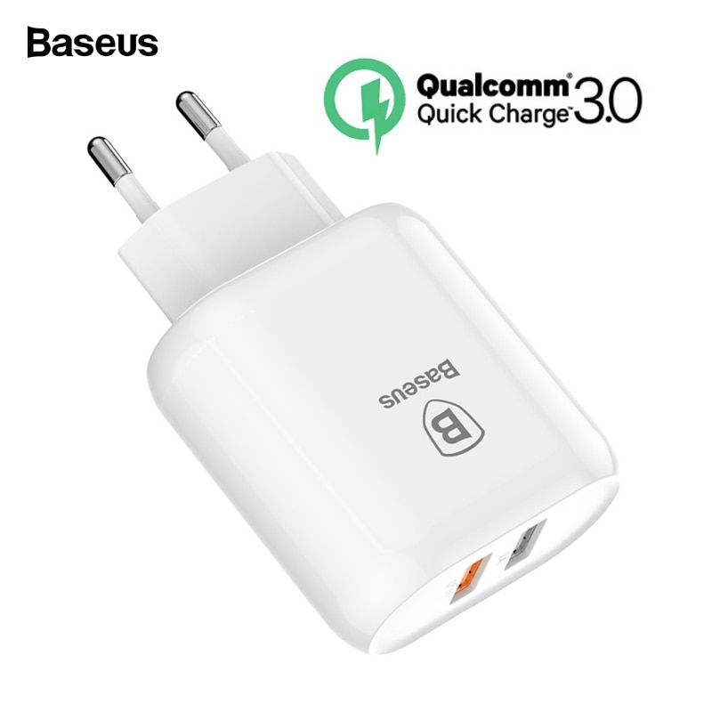 Baseus 23W Quick Charge 3.0 USB Charger For iPhone Samsung Xiaomi QC3.0 5V/3A Fast Charging EU Travel Wall Mobile Phone Charger