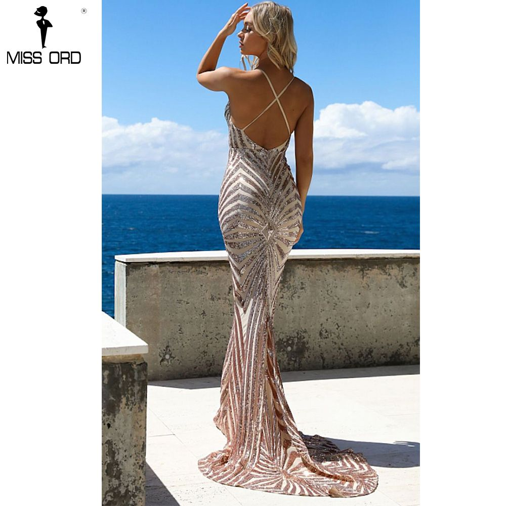 Missord 2018 Sexy v neck Elegant Striped Backless Women Dresses Sequin Bodycon Maxi Party Dress Vestidos FT8928