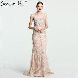 Spitze Meerjungfrau Luxus Abendkleider Ärmelloses Kristall Perlen Tüll Abendkleid Lange 2019 Ruhigen Hill LA6117