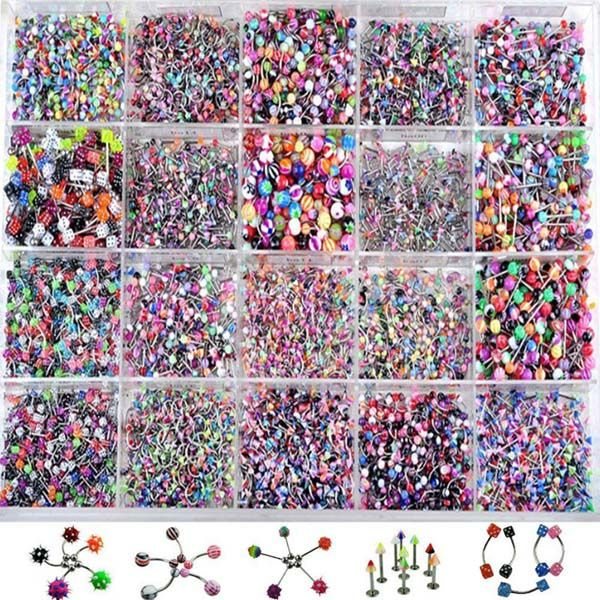 110pcs Colorful Mix Acrylic Stainless Steel Eyebrow Belly Lip Tongue Bar Rings Nose Hoop Ring Body Piercing Jewelry Wholesale