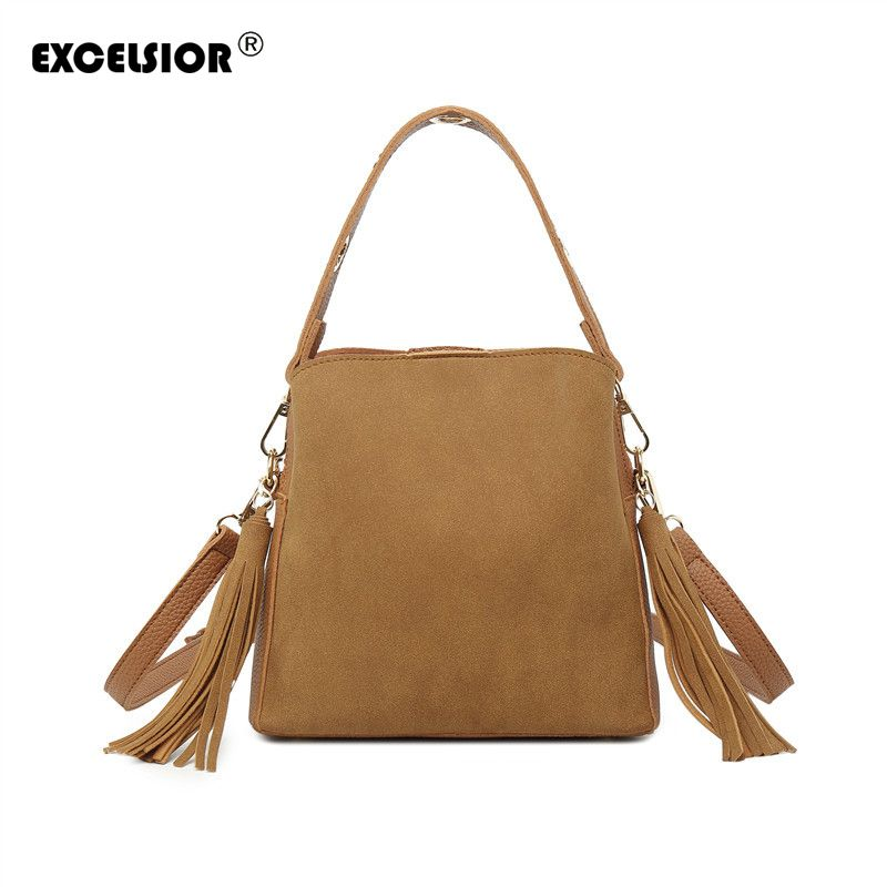 EXCELSIOR Vintage Women's Bags PU Leather Crossbody Bags Scrub Handbag Double Sides Two Materials Multi-use Tassel Messenger Bag