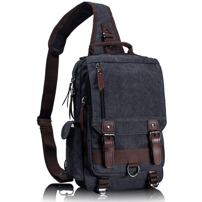 Tourya Canvas Crossbody Bags for Men Women Retro Leather Military Messenger Chest Bag Shoulder Sling Bag Large Capacity Handbag