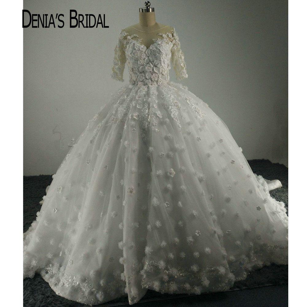 Glamorous Designer O Neck Appliqued Beaded Peals Half Sleeve Ball Gown Wedding Dresses
