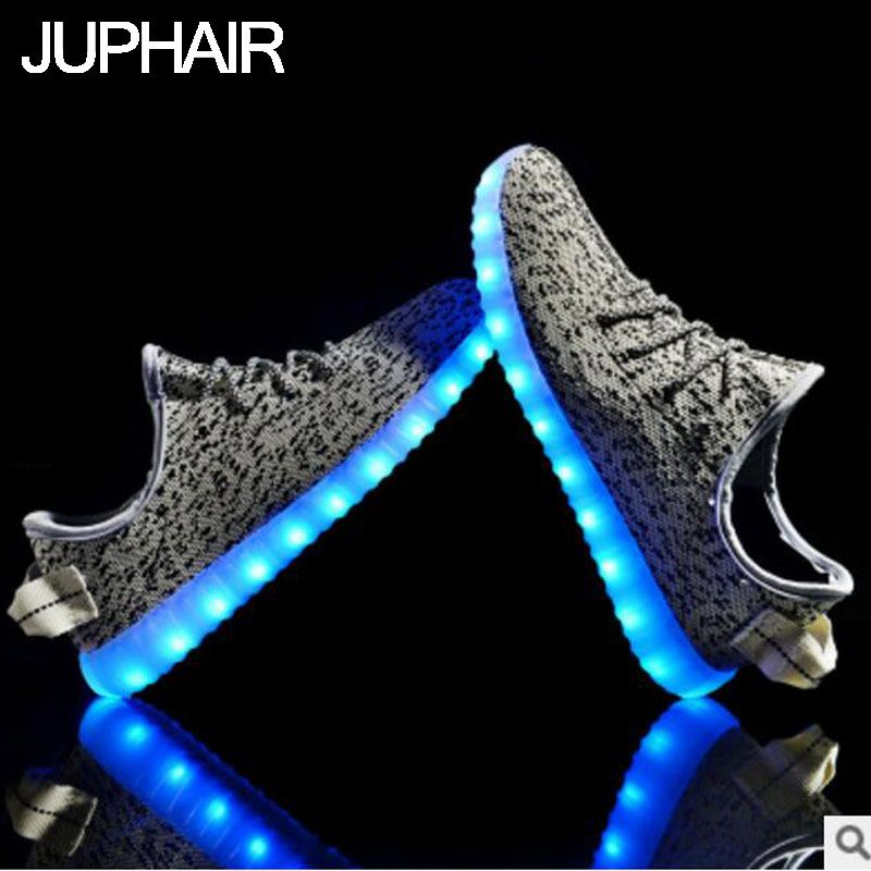 JUPHAIR LED Light Casual Men Boy Males Fashion Colorful Adult Bright Unisex Shoes USB Rechargeable Flat Chaussure Homme Sales on