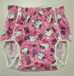 Free Shipping NICEDIAPER2221-Pink cat  Diaper cover waterproof trousers incontinence products ABDL
