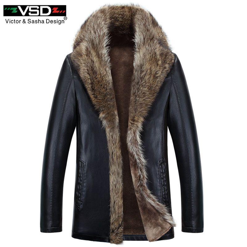 VSD 2018 Winter Kunstleder Herren Jacke Freizeit Leder Business männer Warmen Dicken Mäntel Lange Stil Leder Jacken Und Mantel V1080