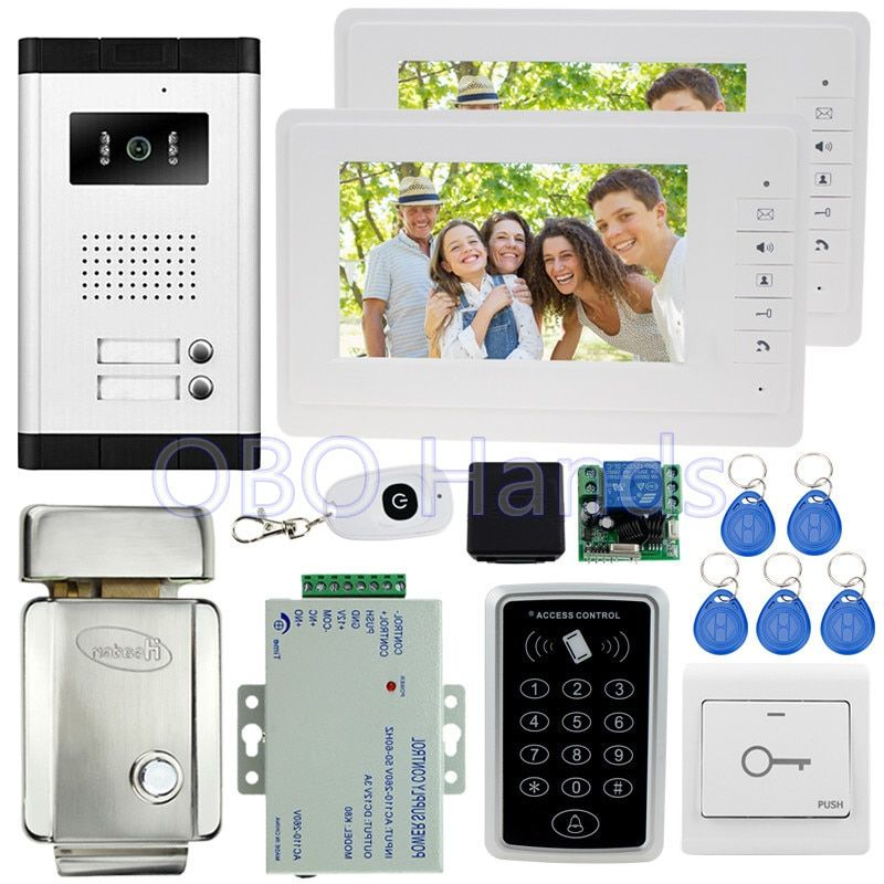 7'' wired color video door phone intercom system kit set with 1 camera+2 monitors+access control keypad+EM lock for 2 families