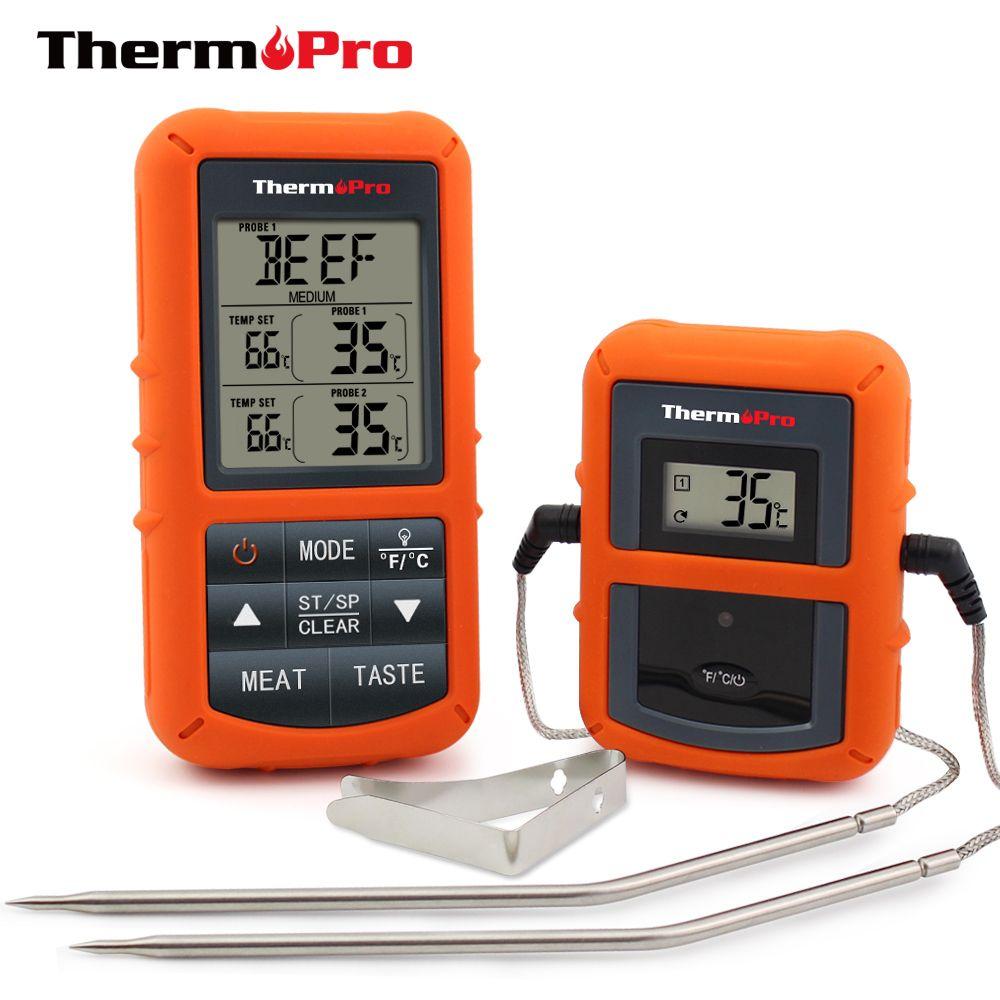 ThermoPro TP-20 À Distance Sans Fil Numérique Cuire BARBECUE Fumeur Four Thermomètre Usage Domestique En Acier Inoxydable Sonde Grand Écran avec Minuterie