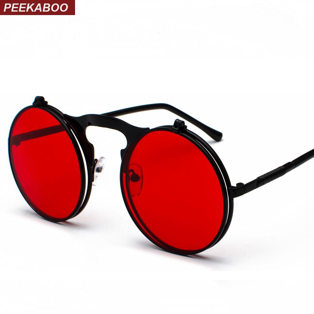 Peekaboo unisexe rétro steampunk lunettes de soleil flip up vert jaune rouge petit rond été style unisexe lunettes de soleil hommes femmes