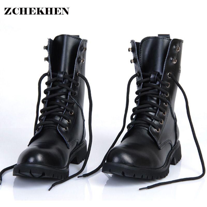 Cuir véritable hommes bottes militaires hommes moto équitation chasse chaussures de marche décontractées Designer désert Botas Hombre noir #11