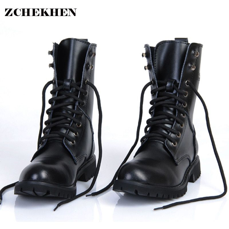 Genuine Leather Men Military Boots Men's Motorcycle Riding Hunting Casual Walking Shoes Designer Martin Botas Hombre black #11