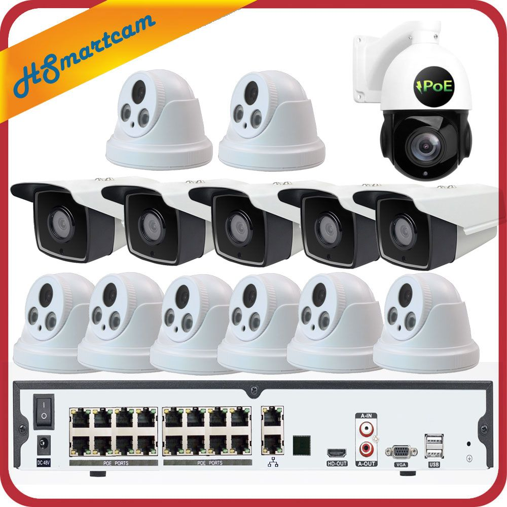 16CH 5MP POE H.265 NVR 3MP CCTV Kamera P2P Wasserdicht + 5MP 30X ZOOM Speed Dome PTZ Kamera Sicherheit System + POE 4 tb HDD