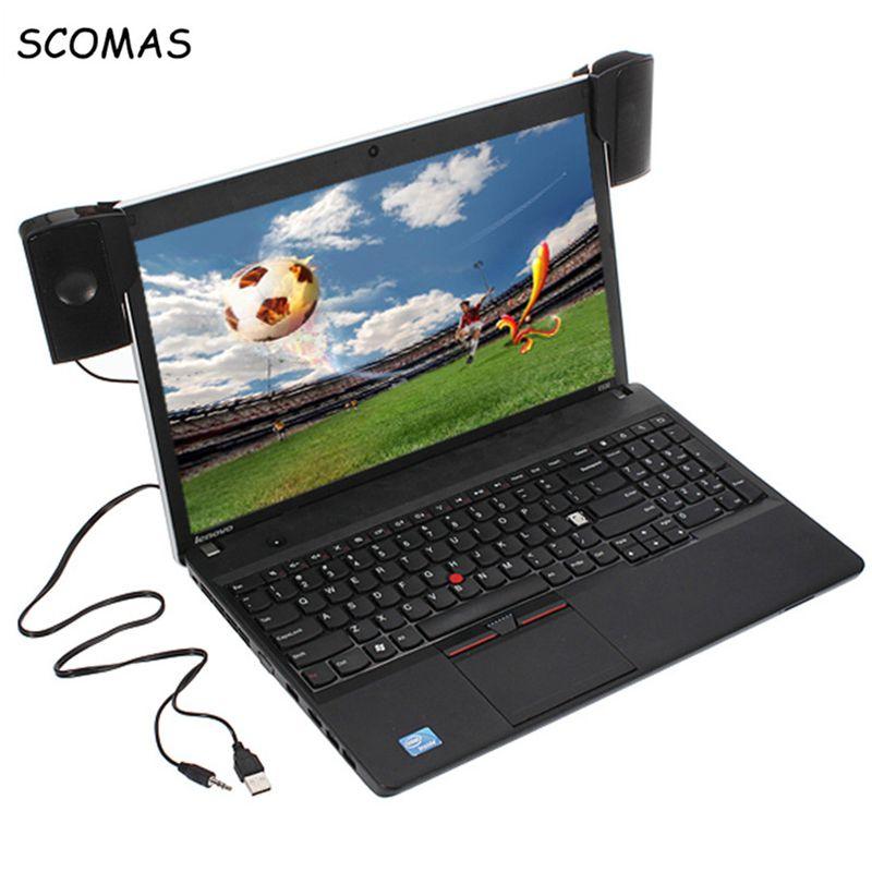 SCOMAS Portable Mini USB Stéréo Haut-Parleur Soundbar clipon Haut-parleurs pour Ordinateur Portable Ordinateur Portable Téléphone Lecteur de Musique Ordinateur PC avec Clip
