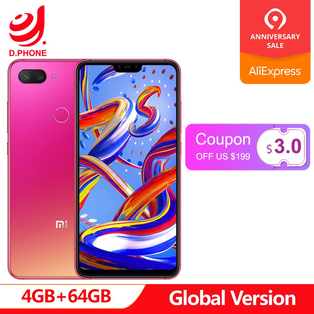 Version originale mondiale Xiao mi 8 Lite 4 GB 64 GB 6.26