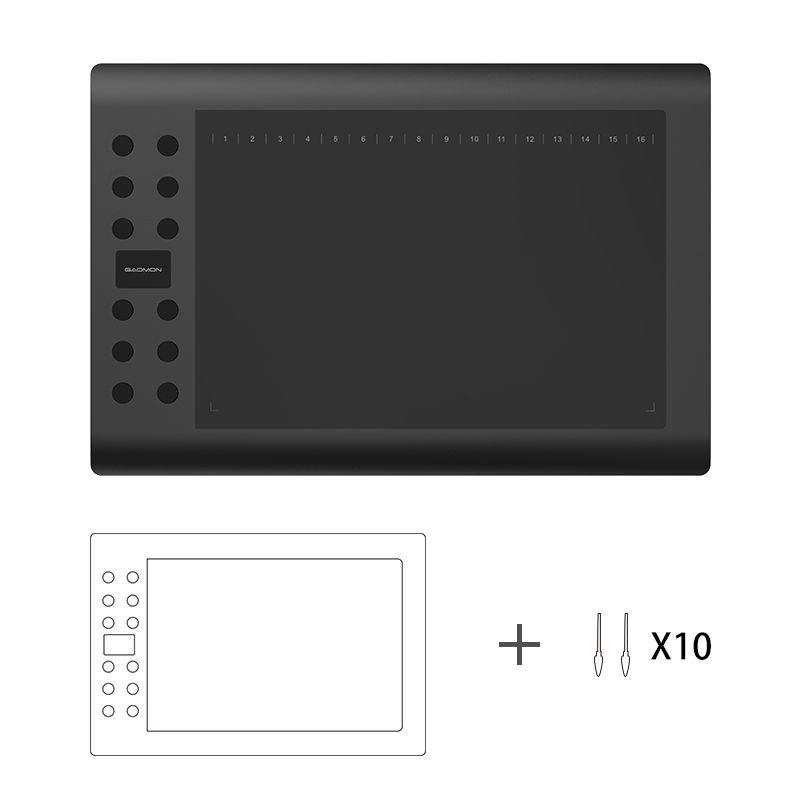 Gaomon m106k 10x6 дюймов рисования Планшеты цифровой Планшеты Графика Планшеты с 10 сменные наконечники