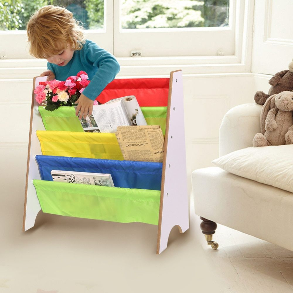 4 Tiers Wood Shoes Rack Shelves Holder Storage Home OrganizerMulti-color Pocket Bookshelf Children Furniture Bookcase