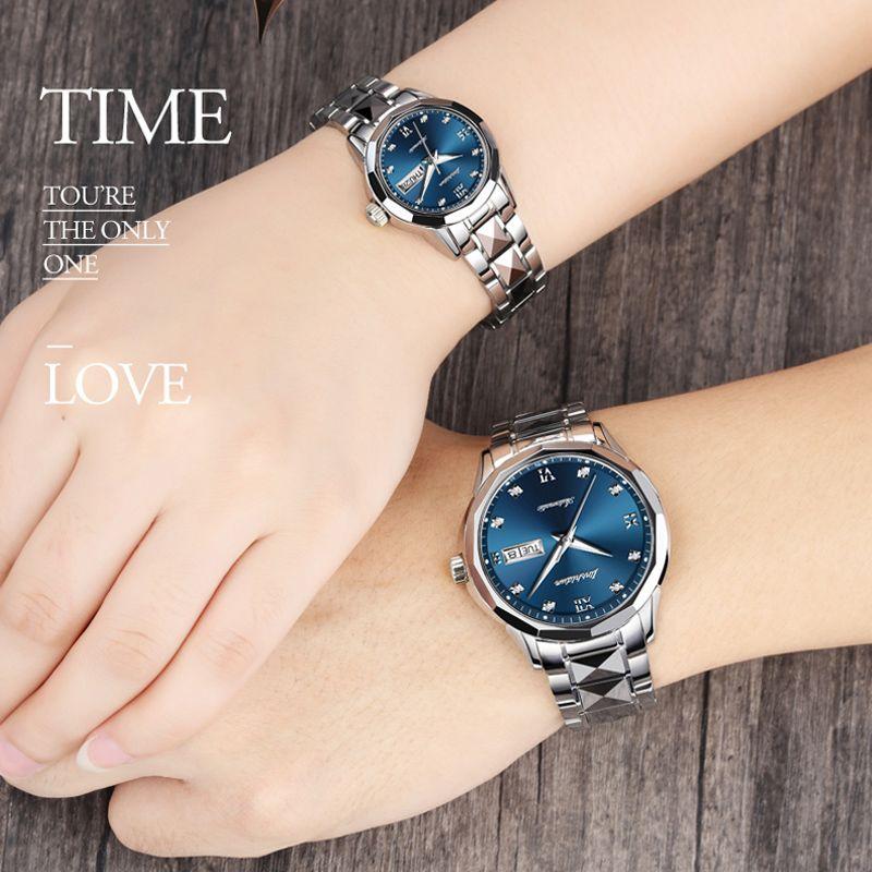 Hohe Qualität Paar Uhren JSDUN Luxus Mechanische Uhr Männer Edelstahl Wasserdicht Liebhaber Automatische Uhr Rose Gold