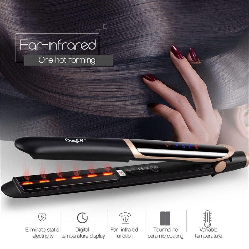 CkeyiN professionnel cheveux lisseur bigoudi cheveux plat fer négatif Ion infrarouge redressage Curling ondulation affichage de LED