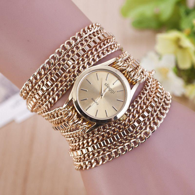 2017 Hot new mode bracelet classique rétro horloge 18 k or planté chaîne élégant haute qualité dames femmes poignet robe montre