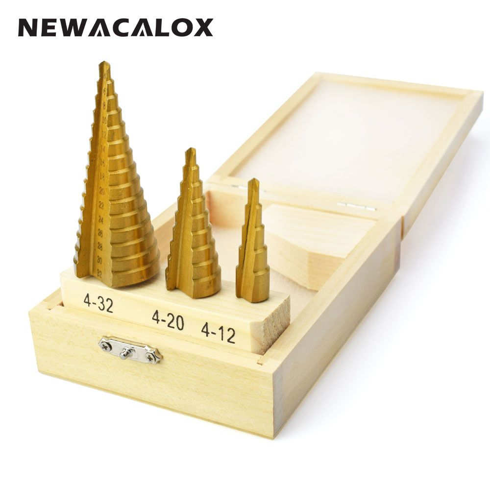 NEWACALOX Large Step Cone HSS <font><b>Steel</b></font> Spiral Grooved Step Drill Bit Hole Cutter Cut Tool 4-12/20/32mm with Wood Box 3pcs/Set
