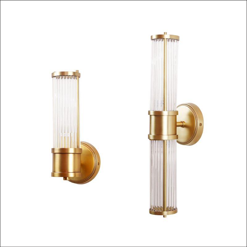 Wand Lampen Führte Licht Im Bad Kupfer Finish Glas Lampenschirm bad führte spiegelleuchte oben und unten Gold Fitting wandleuchten