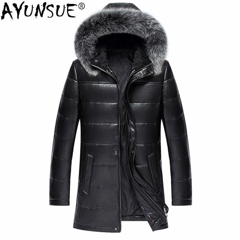 AYUNSUE Real Leather Jacket Men Sheepskin Coat Genuine Leather Coat Man Winter Warm Down Jackets Male Fox Fur Outwear LWL1087