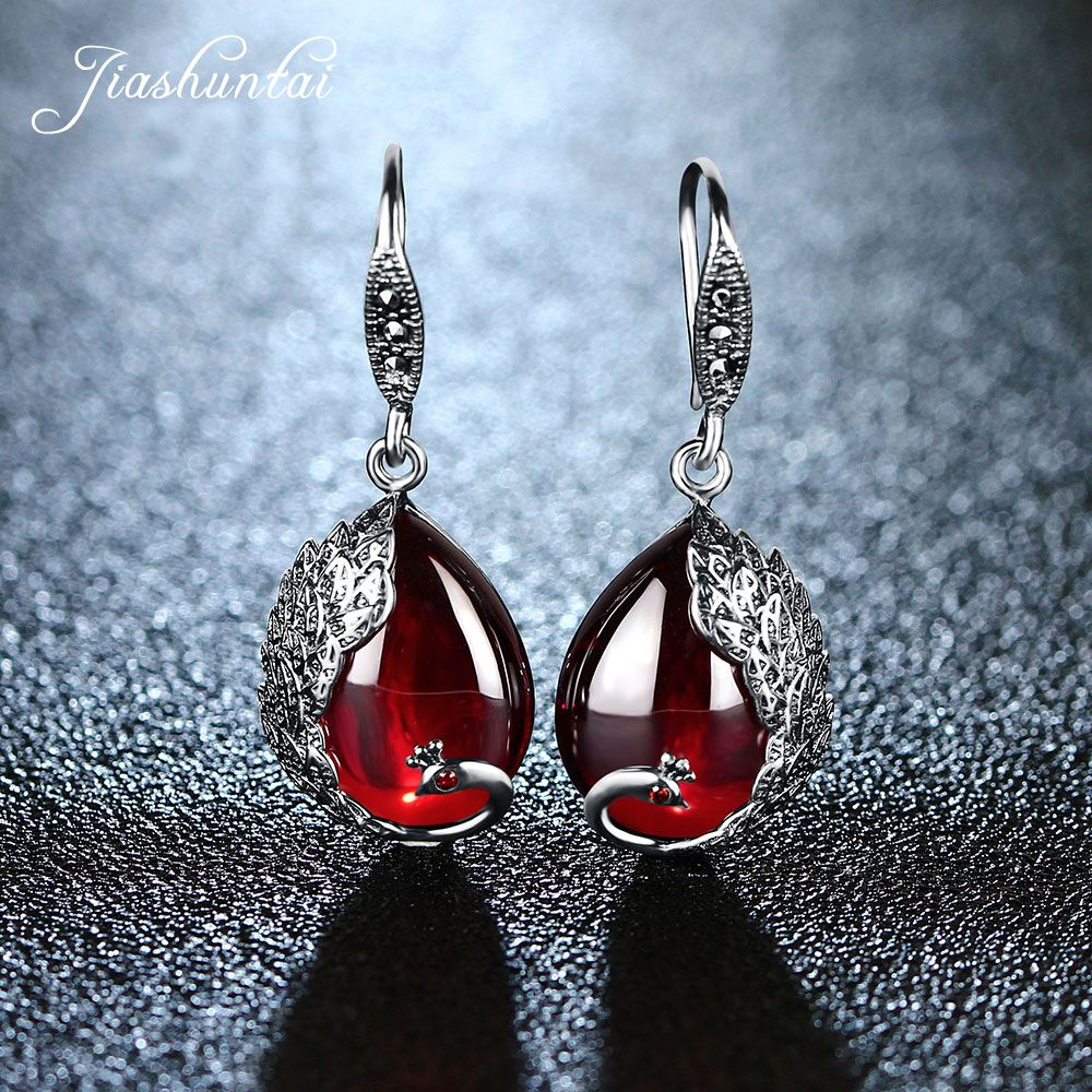 JIASHUNTAI Silver Earrings for Women Peacock Shape Earrings Female Antiallergic 925 Sterling Silver Jewelry Natural Stone