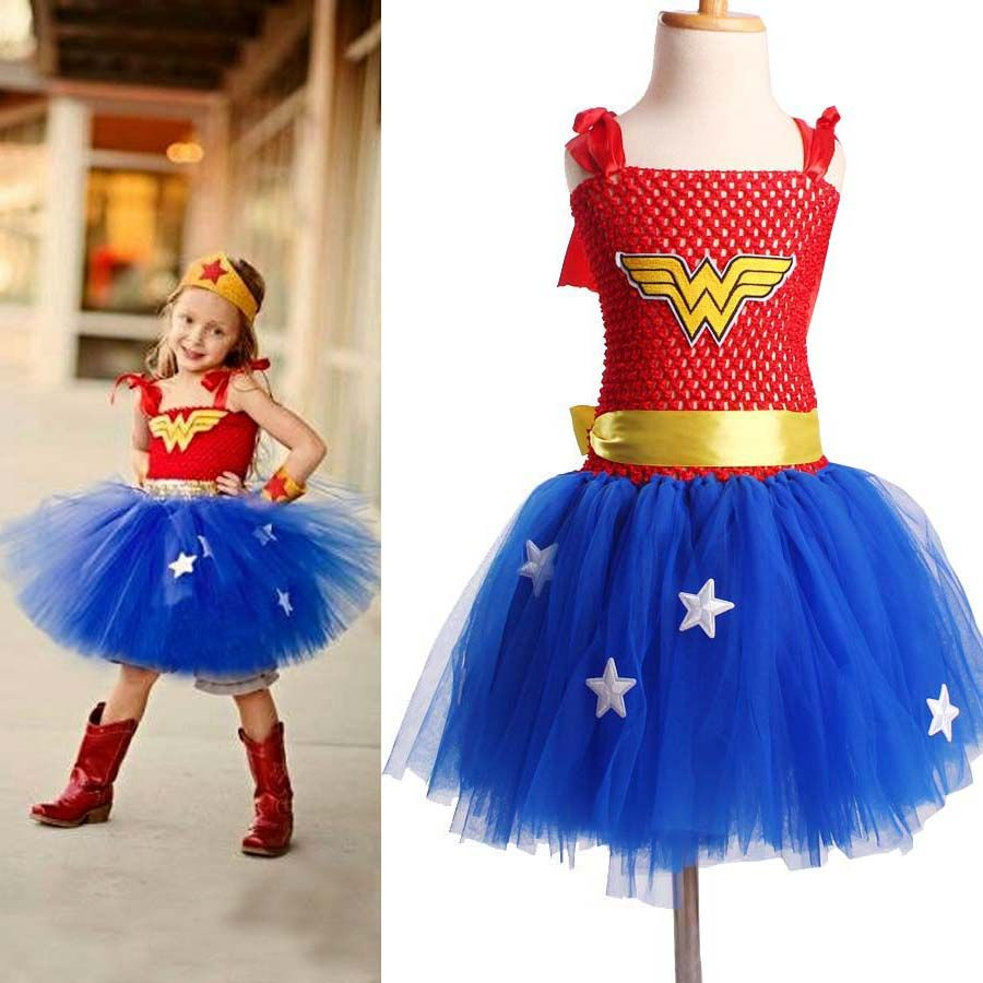 Superhero Inspired Girl Tutu Dress Wonder Woman Batman Superman Cosplay Photo Props Dress Halloween <font><b>Birthday</b></font> Gift TS089