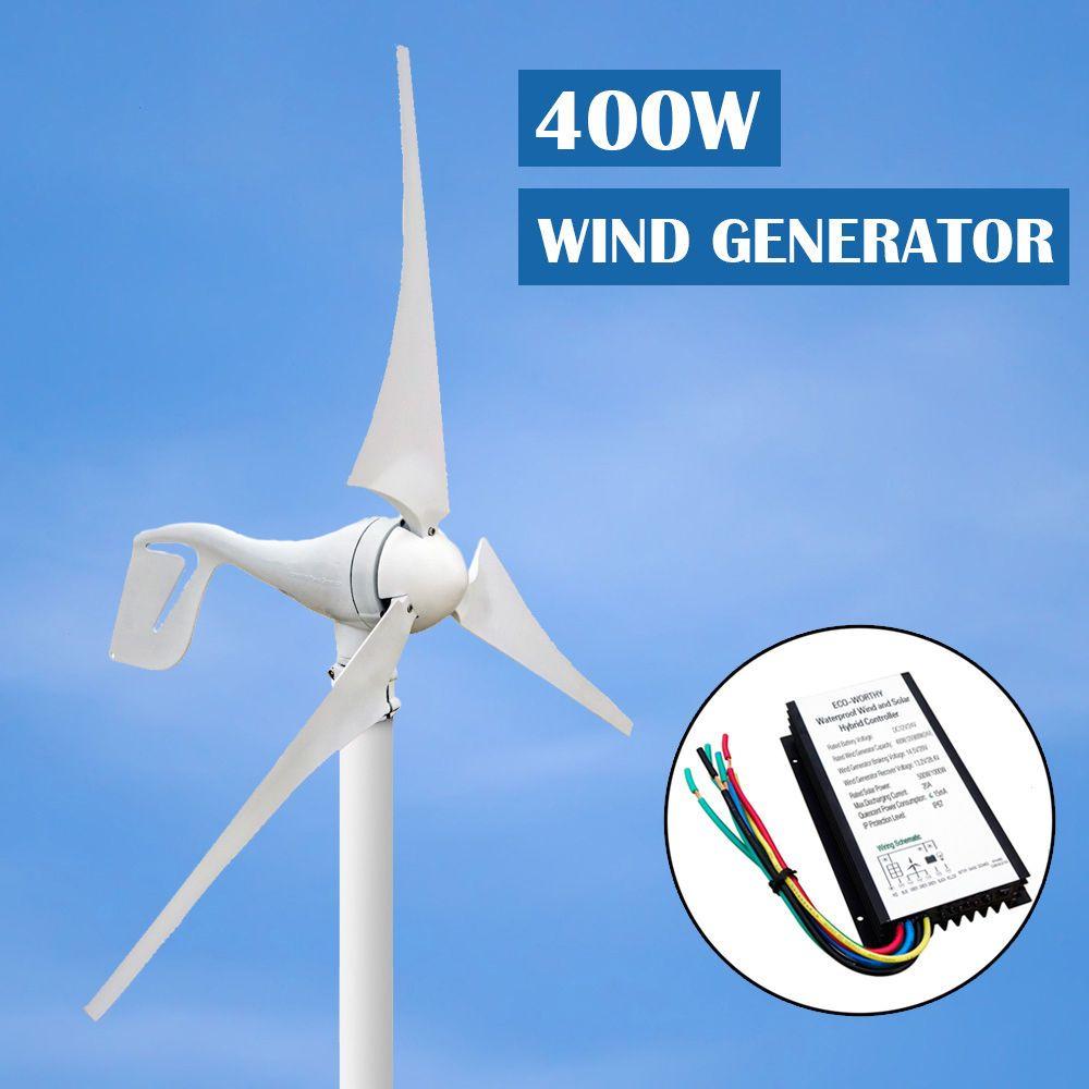 EU AU USA Stock 400w Wind Turbinen Generator Small 3 Blade 1kw Grid Tie Vertical Mini Wind Solar Hybrid Controller