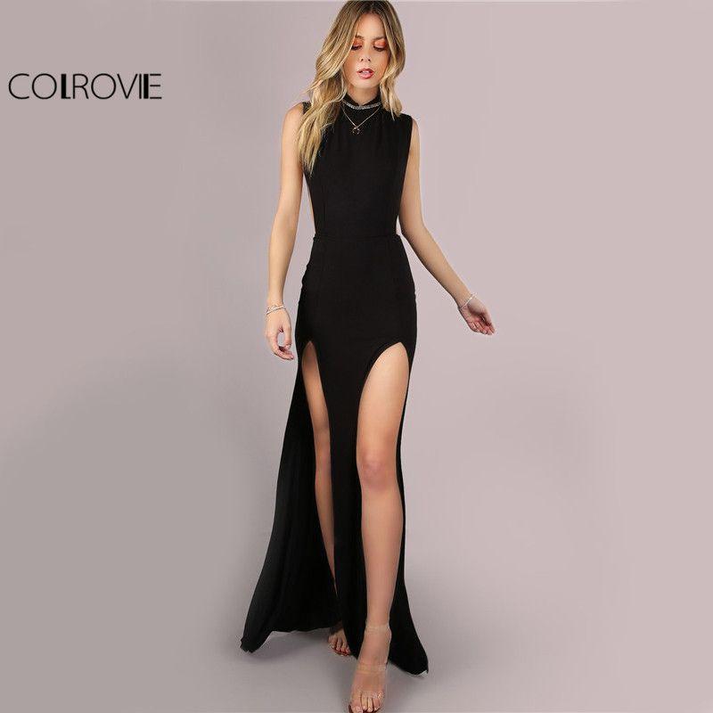 COLROVIE noir maille dos Maxi robe de soirée Sexy Double fente Club femmes moulante robes d'été fille col haut Slim longue robe