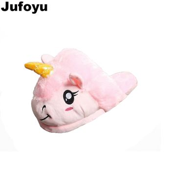 Jufoyu 2018 Unisex Unicorn Cotton Home Slippers Spring Warm Chausson Licorne Indoor Cartoon Slippers Shoes For Teen Boys Girls