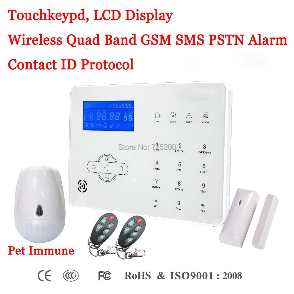 French/Spanish/English Voice Prompt Wireless GSM SMS PSTN Intrusion Alarm System ST-IIIB with Pet Immune PIR Sensor & Door Senso