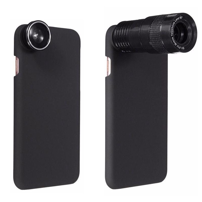5 в 1 180 градусов телефон Объективы для фотоаппаратов 9x зум-телеобъектив 0.63X Широкий формат макро объектив рыбий глаз с чехол для Iphone 7 7 Plus