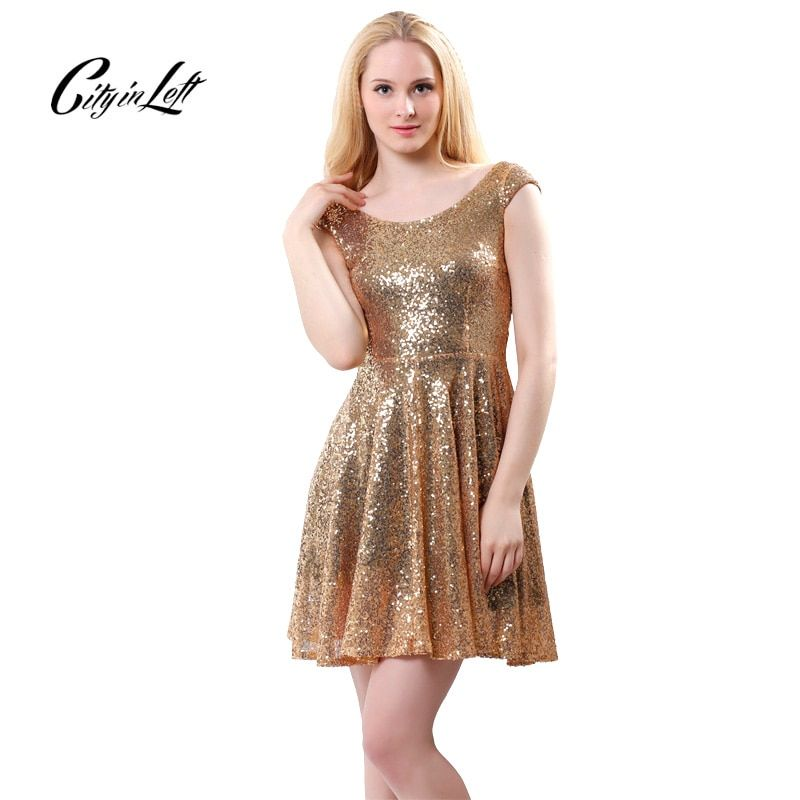 2018 New Summer Fashion Women Dress Sexy Backless Sequin Dress Crew Collar Golden Sequined Party Club Dresses Pleated dress 399