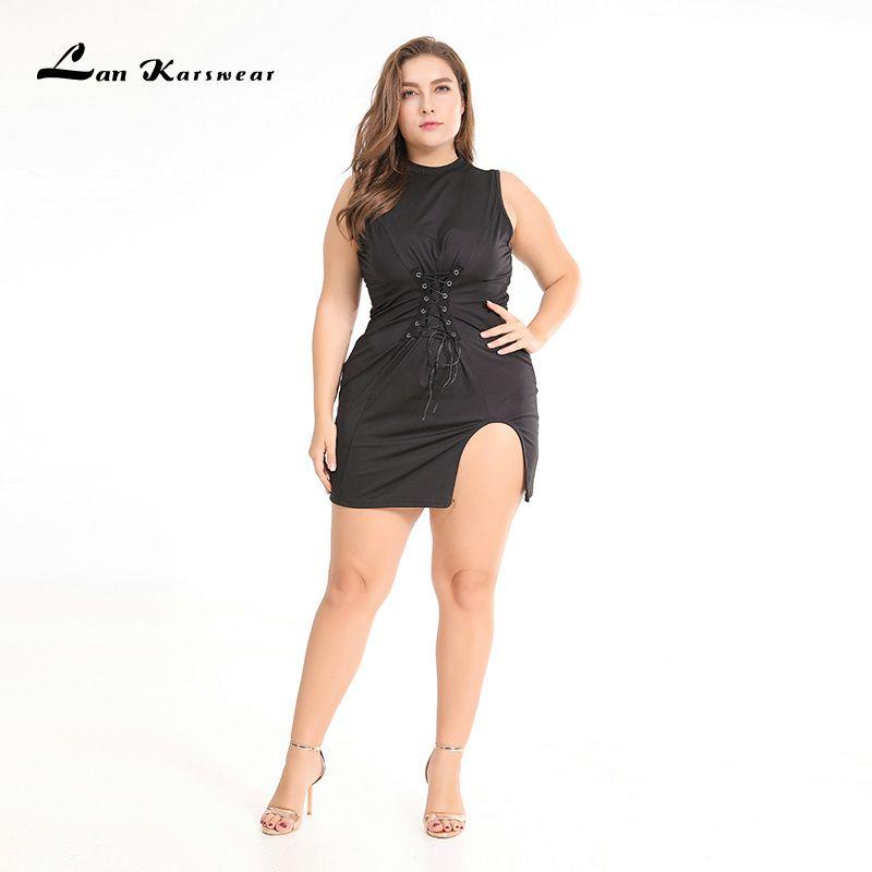 Lan Karswear 2019 Moulante Robes Sans Manches Sexy Club Fête robes de grande taille Femmes Vêtements XXXL Robes Livraison Gratuite