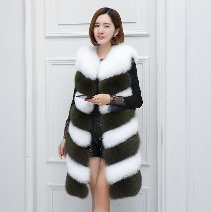2017 new fashion temperament stitching fur vest female fox fur Slim color imitation fur vest