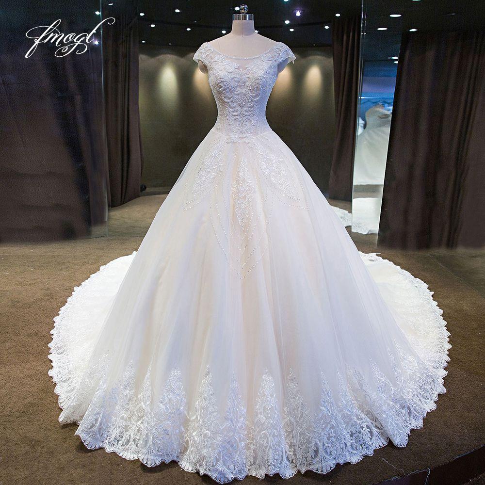 Fmogl Vestido De Noiva Spitze Ballkleid Hochzeit Kleider 2019 Luxus Scoop Neck Appliques perlen Muster Tüll Braut Kleider
