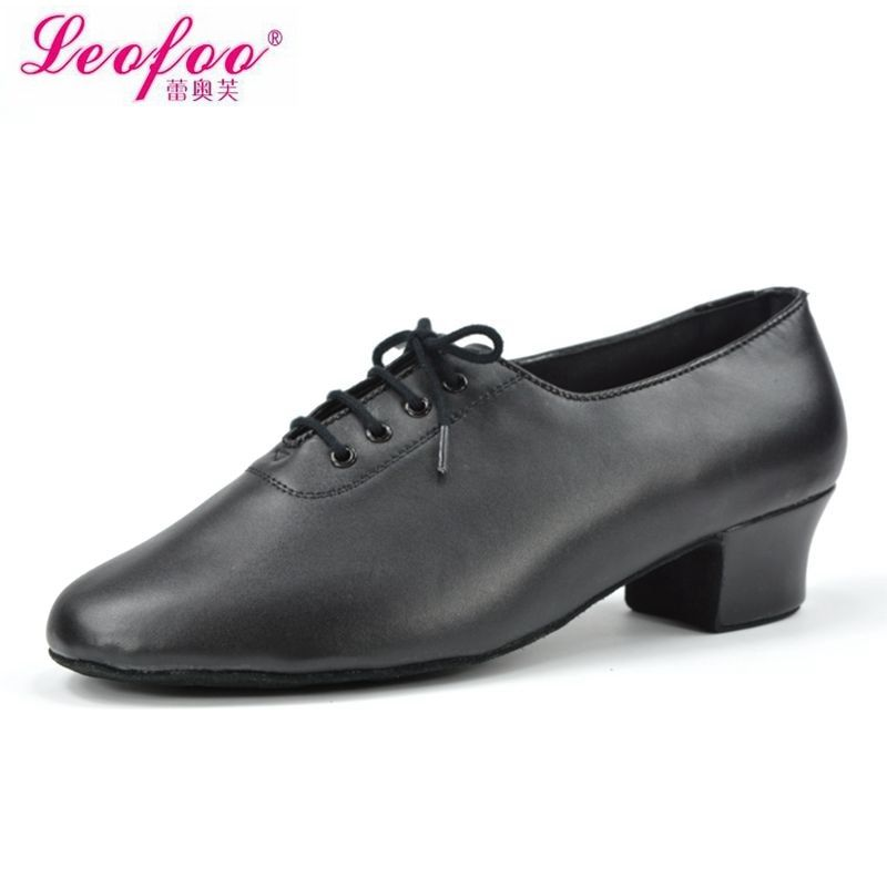 Мужская танцевальная обувь Латинские танцы обувь Натуральной кожи черный прямая производителей с высоким 3.5 см NL3