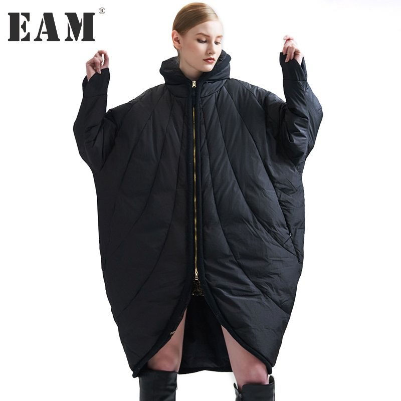 [EAM] 2018 New Winter Stand Collar Long Sleeve Solid Color Black Loose Big Size Warm Coat Women Jacket Fashion JA99301