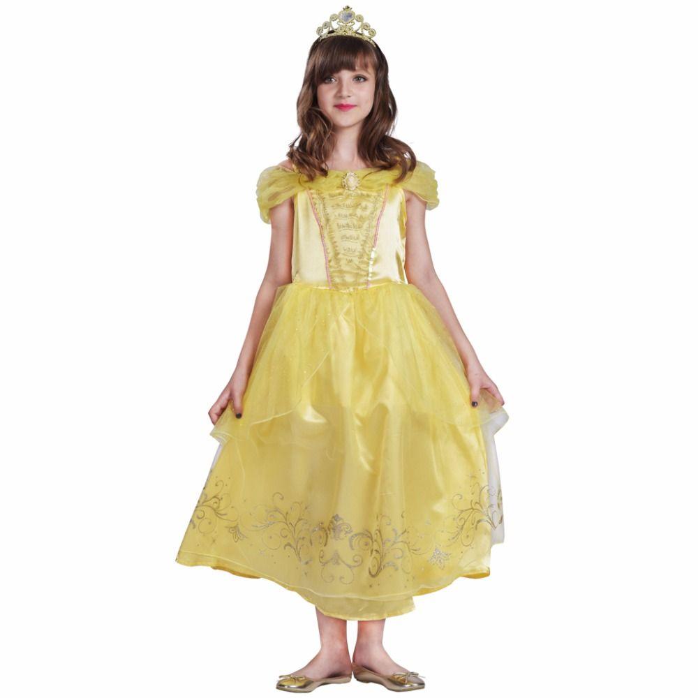 Belle платье Детские платья принцессы Обувь для девочек рождественские платья Queen Косплэй желтый маскарадный костюм для детский Рождественск...