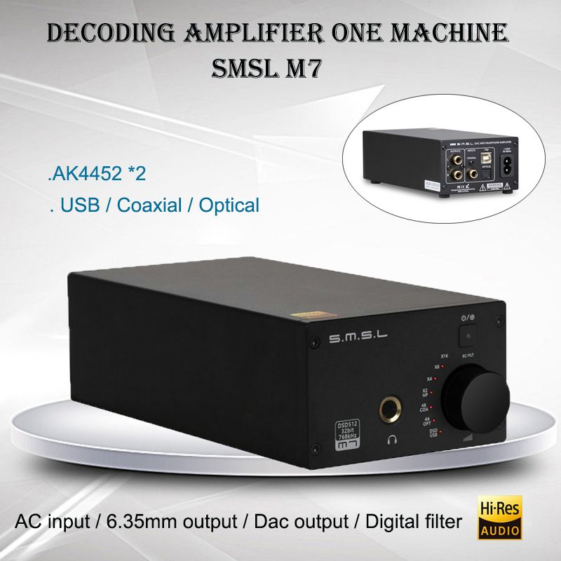 SMSL M7 Audio Headphone Amplifier AK4452 USB DAC Amplificador DSD512 XMOS LM4562 Hifi Power Amp Portable Decoder 32bit