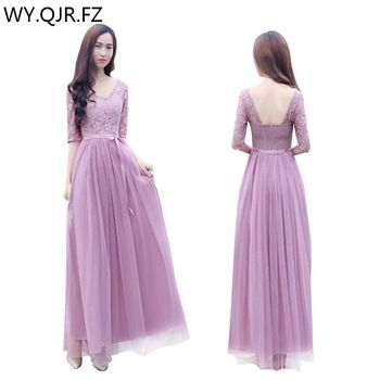 ZX05059#pinkish purple v-neck long Bridesmaid Dresses 2018 Winter new Sister group wedding party prom dress cheap wholesale